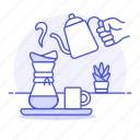 brewing, coffee, cup, drinks, drip, filter, hand, hot, making, paper, pot, teapot, water