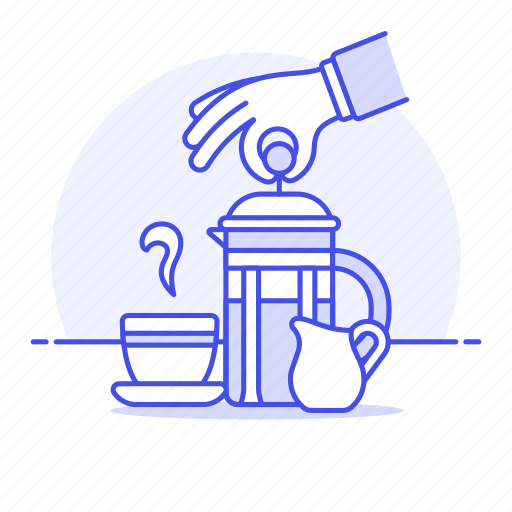 1, 2, brewing, coffee, cup, drinks, french, hand, hot, making, press, smoky, teapot icon