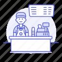 male, cash, counter, cashier, menu, drinks, barista, shop, coffee, cafe, register