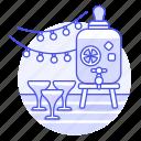 beverage, bottle, cocktail, dispenser, drink, drinks, fruit, glass, juice, party, sangria, with