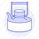 appliance, drinks, kettle, kitchen, metal, pot, stovetop, tea, teakettle icon