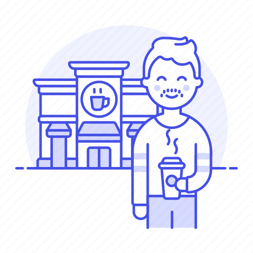 1, building, cafe, client, coffee, cup, customer, drinks, male, paper, shop, street, takeaway icon
