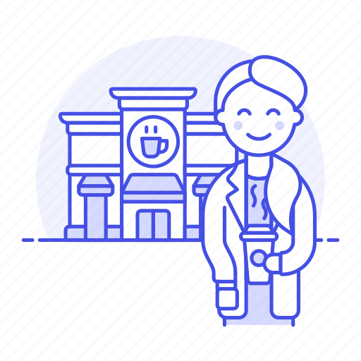 2, building, cafe, client, coffee, cup, customer, drinks, female, paper, shop, street, takeaway icon
