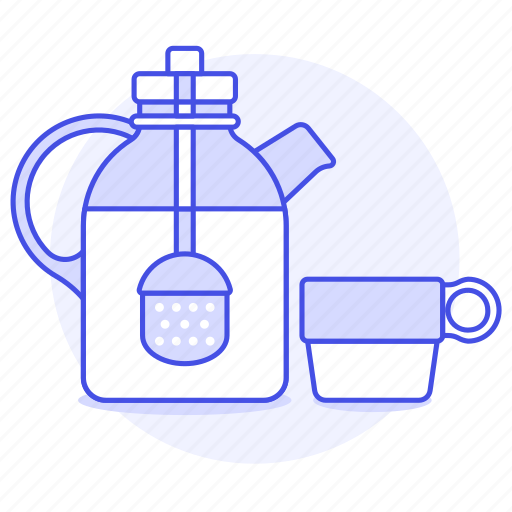 appliance, basket, cup, drinks, glass, infuser, kettle, kitchen, pot, tea, with icon