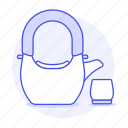 appliance, drinks, kettle, kitchen, pot, set, tea, teakettle icon