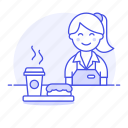 barista, cafe, cafeteria, coffee, cup, donut, drinks, female, half, paper, shop, tray, waitress