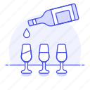 alcohol, bar, bottle, drink, glass, pour, pouring, serving, white, wine icon