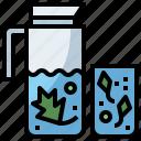 bottle, cocktail, detox, drink, food, healthy, hydratation, restaurant, water icon
