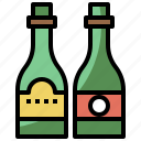 bottle, drink, food, healthy, hydratation, restaurant, water, wine icon