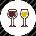 drinks, glasses, red wine, white wine, wine