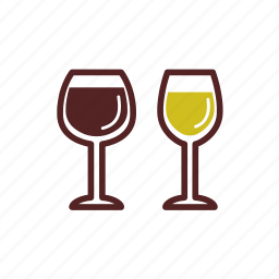 drinks, glasses, red wine, white wine, wine icon