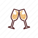 bubbles, celebrate, champagne, clink glasses, drinks, sparkling wine icon