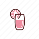 drinks, fresh, glass, juice, lemonade, orange, orangeade icon