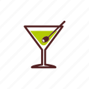 alcohol, aperitif, cocktail, drinks, glass, martini, olive icon