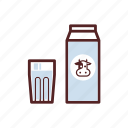 box, carton, drinks, glass, milk icon