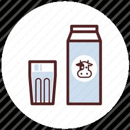 box, carton, drinks, glass, milk icon