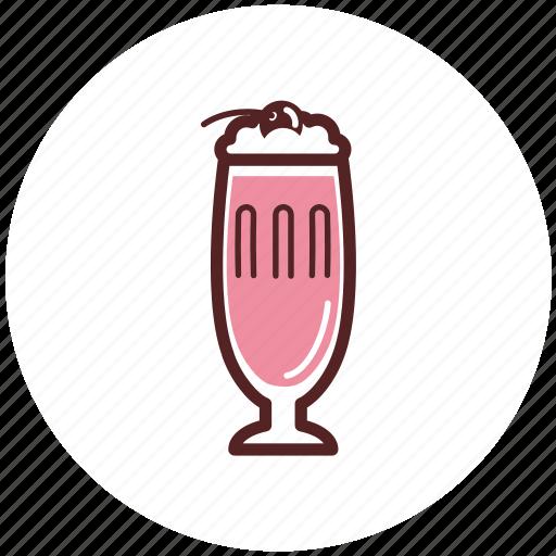 cherry, cream, drinks, glass, milk, milkshake icon