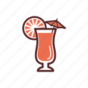 cocktail, drinks, exotic, lemon, orange, parasol, umbrella icon