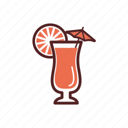 cocktail, drinks, exotic, lemon, orange, parasol, umbrella icon