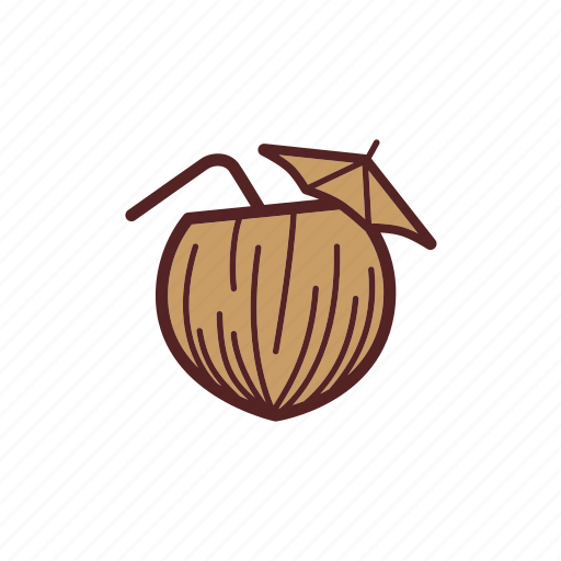 beach, cocktail, coconut, drinks, exotic, parasol icon