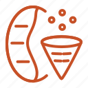 bean, coffee, filter, grind, ground, paper, size icon