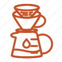 coffee, filter, brew, dripper, jug, water, paper icon