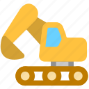 bulldozer, construction, excavator icon