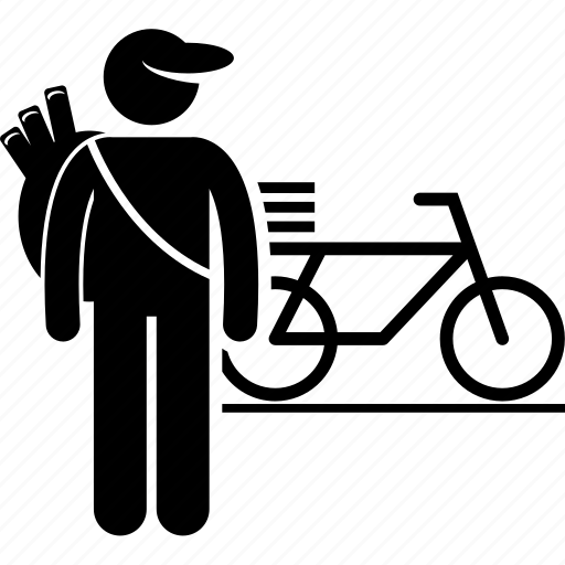 bicycle, carrier, delivery, deliveryman, dispatcher, newspaper, paperboy icon
