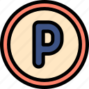 driving, parking, school, sign icon