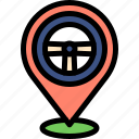 driving, pin, placeholder, school icon