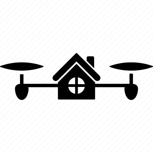 air drone, building, copter, flying, house, living, quadcopter icon