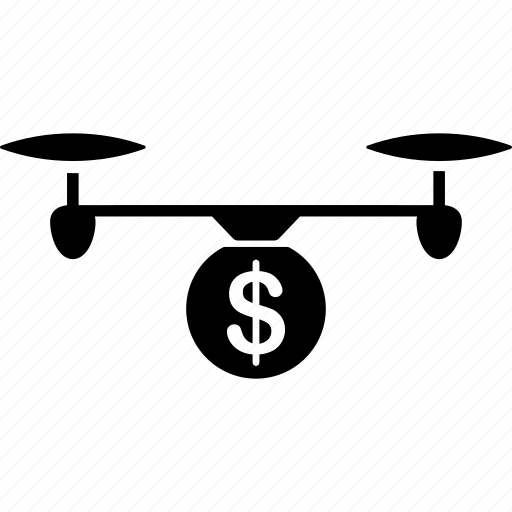 cash, copter, drone, fund, money bag, nanocopter, quadcopter icon
