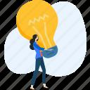 brainstorming, bulb, idea, innovation, light, people, startup icon