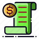 bill, money, pay, receipt, transaction icon