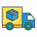 arrival, delivery, order, post, truck icon