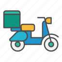 delivery, last mile, motorcycle, order, post icon