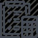 calculation, clipboard, commerce, e, plan, sum, task icon
