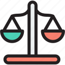 balance, justice, law, scales, scales icon icon