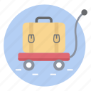 airport trolley, luggage cart, luggage trolley, push cart, service trolley icon