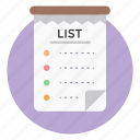 notes, shopping list, tasklist, todo list, wish list icon