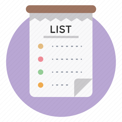 notes, shopping list, tasklist, todo list, wish list icon