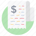 bill, financial document, invoice, receipt, tax document icon