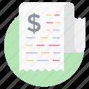 bill, financial document, invoice, receipt, tax document icon