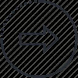 arrow, line, next, thin icon