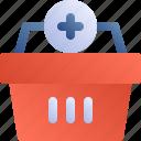 cart, basket, ecommerce, add, shopping icon