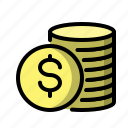coins, money, finance, cash, dollar, coin, payment icon