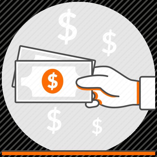 cash, concept, ecommerce, hand, money, payment icon