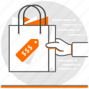 concept, delivery, ecommerce, fast, fast delivery, paper bag, shopping bag icon
