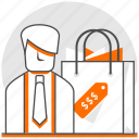 concept, ecommerce, men, paper bag, products, products for men, shopping bag icon
