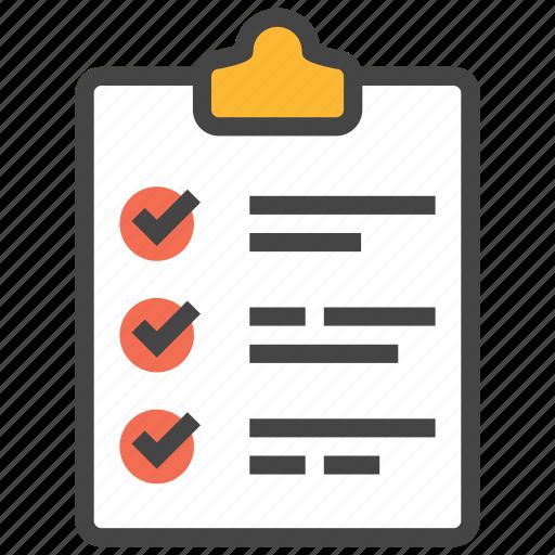 checklist, clipboard, document, list, orderlist, tasklist, tick icon